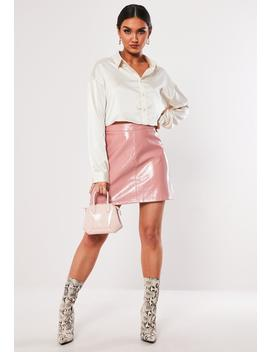 Pink Vinyl A Line Mini Skirt by Missguided