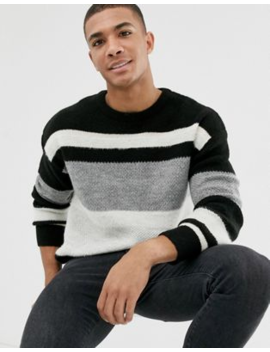 New Look Oversized Jumper In Monochrome Stripe by New Look