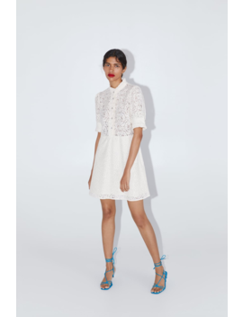 Lace Dress With Jewel Button View All Dresses Woman by Zara