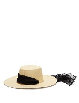 Cordovez Swiss Dot Tulle Trimmed Hat by Sensi Studio
