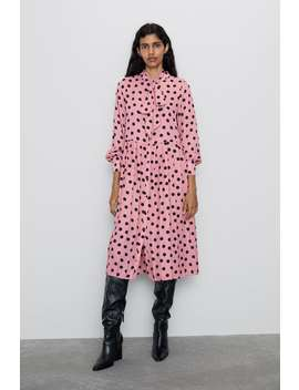 Pleated Polka Dot Dress View All Dresses Woman by Zara