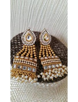 Indian Jewellery Jewelry Wedding Bridal Copper Heavy Gold Plated Earrings Jhumka Kundan Polki Crystals Pooth Studded High Quality Beautiful by Etsy