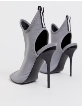 Asos Design Partition Shoe Boot Heels In Reflective Silver by Asos Design