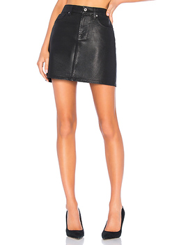 Coated Mini Skirt In Black Coated by 7 For All Mankind