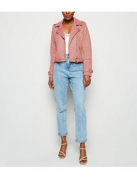 Urban Bliss Mid Pink Suedette Biker Jacket by New Look