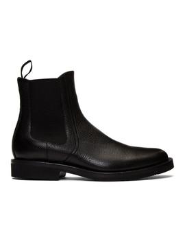 Black Pebbled Chelsea Boots by Dries Van Noten