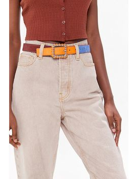 Colorblock Calf Hair Belt by Urban Outfitters