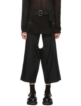 Black Deconstructed Pin Buckle Trousers by Comme Des GarÇons Homme Plus