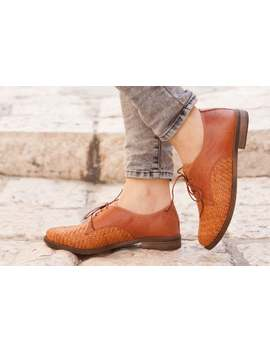 Camel Leather Shoes, Woven Oxford Shoes, Close Shoes, Flat Shoes, Rust Shoes , Free Shipping by Etsy