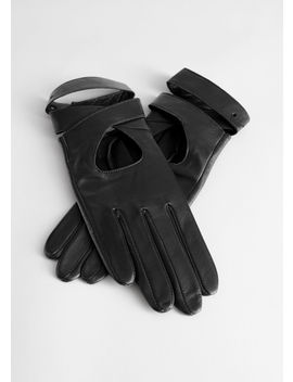 Leather Criss Cross Gloves by & Other Stories