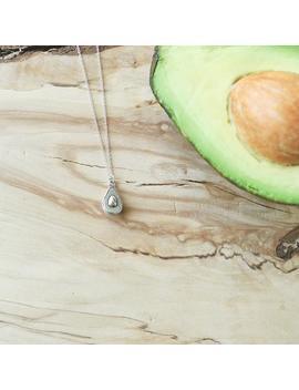 Avocado Necklace, Sterling Silver, Avocado, Avocado Jewelry, Guacamole, Avocado Gift, Vegetable Jewelry, Vegetable Necklace, Half An Avocado by Etsy
