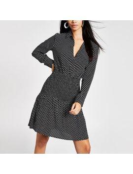 Black Polka Dot Shirred Shirt Dress by River Island