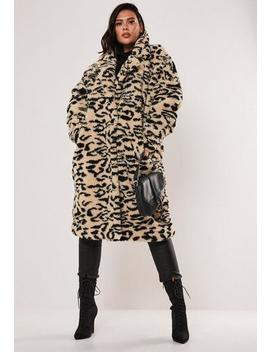 Plus Size Brown Leopard Print Oversized Teddy Coat by Missguided