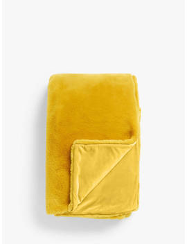 John Lewis & Partners Premium Faux Fur Throw, Mustard by John Lewis & Partners