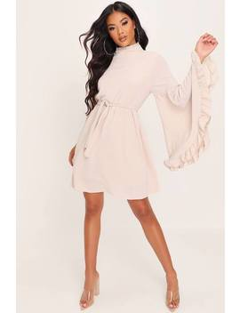 Stone High Neck Frill Split Sleeve Tunic by I Saw It First