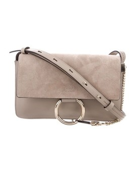 Faye Calfskin Small Taupe Suede Leather Cross Body Bag by Chloé