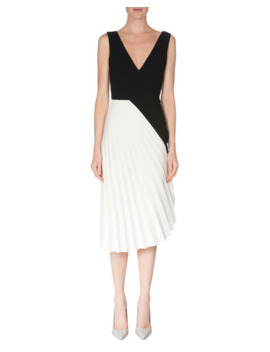 Roland Mouret Sleeveless Colorblock Pleated Dress, Black/White by Roland Mouret