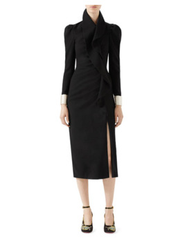 Gucci Wool Dress With Asymmetric Flounce by Gucci