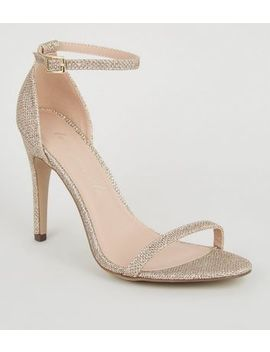 Gold Glitter 2 Part Barely There Stilettos by New Look