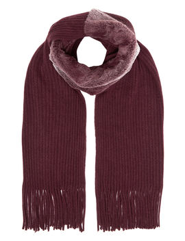 Faux Fur Panel Scarf With Tassels by Roman Originals