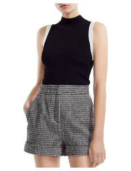 Marine Ribbed Sleeveless Mock Neck Sweater by Maje