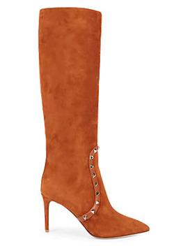 Rockstud Suede High Heel Tall Boots by Valentino Garavani