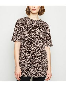 Brown Leopard Print Longline T Shirt by New Look