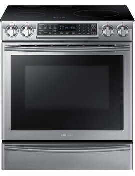 5.8 Cu. Ft. Electric Induction Self Cleaning Slide In Smart Range With Convection   Stainless Steel by Samsung