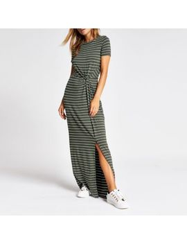 Khaki Stripe Twist Front Maxi Dress by River Island
