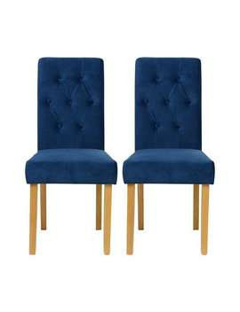 Fleur Velvet Pair Of Dining Chairs   Royal Blue by Dunelm