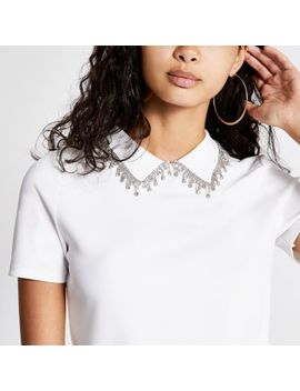 Cream Diamante Embellished Collar Top by River Island