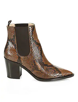 Romney Point Toe Python Chelsea Boots by Gianvito Rossi