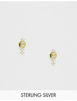 Kingsley Ryan Sterling Silver Gold Plated Diamante Climber Earrings by Kingsley Ryan