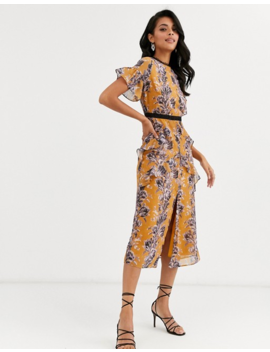 Hope & Ivy Midi Dress With Ruffle Detail In Orange Floral by Hope And Ivy