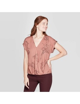 Women's Floral Print Short Sleeve Deep V Neck Blouse   A New Day Brown by Neck Blouse