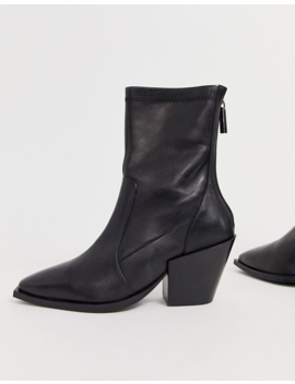 office-ashen-black-leather-mid-heeled-ankle-boots by office
