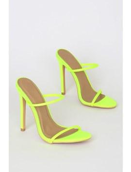 Leesa Neon Lime Green High Heel Sandals by Lulu's