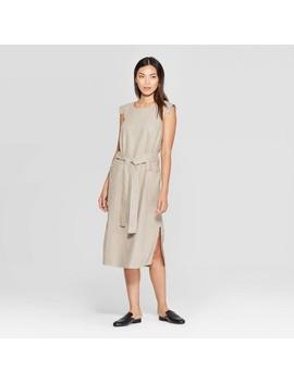 Women's Short Sleeve Square Neck Column Midi Dress   Prologue Tan by Prologue Tan