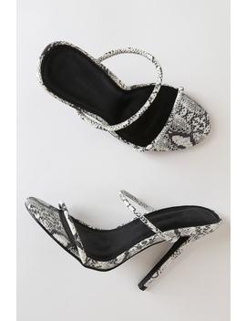 Leesa Snake Print High Heel Sandals by Lulu's
