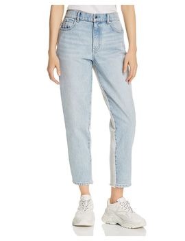 Ride Clash Mixed Media Crop Tapered Jeans In Bleach/Heather Gray by Alexanderwang.T