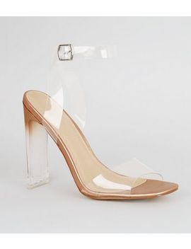 Rose Gold Clear Strap Block Heels by New Look