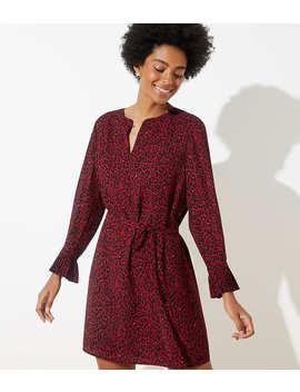 Leopard Print Tie Waist Dress by Loft
