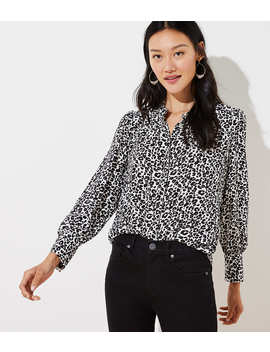 Leopard Print Crossover Back Utility Blouse by Loft