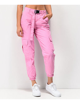 Ninth Hall Raines Buckle Belt Pink Cargo Pants by Ninth Hall