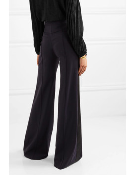 Satin Trimmed Stretch Wool Wide Leg Pants by Chloé