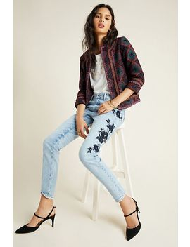 Driftwood High Rise Embroidered Slim Jean by Driftwood