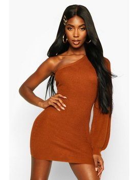 Asymmetric One Shoulder Knitted Mini Dress by Boohoo
