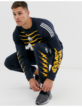 Adidas Performance Grfx Graphic Pants In Navy by Adidas