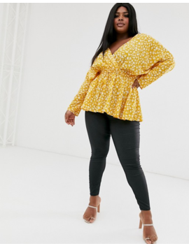 Asos Design Curve Batwing Sleeve Top With Tie Waist In Ditsy Floral Print by Asos Design