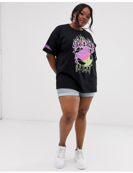 Asos Design Curve Oversized T Shirt With Neon Puff Print by Asos Design